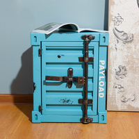 Industrial Style Retro Container Wrought Iron Bedside Table Lock Locker Storage Cabinet Bed Drawer Cabinet