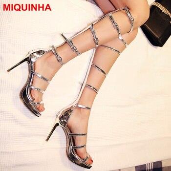 MIQUINHA Peep Toe Narrow Band Design Women Summer Boots Metallic Color High Heel Shoes Dress Party Runway Shoes Mujer Sandalia