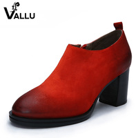 2016 Autumn Women Boots High Heel Vintage Handmade Women Shoes Genuine Leather Ankle Boots