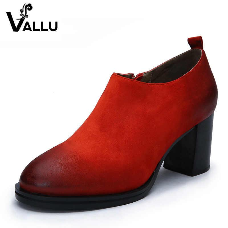 2019 Yüksek Topuk Ayakkabı Kadın Çizmeler Yuvarlak Ayak Vintage El Yapımı Doğal Çocuk Süet Blok Tıknaz Topuklu Bayanlar yarım çizmeler