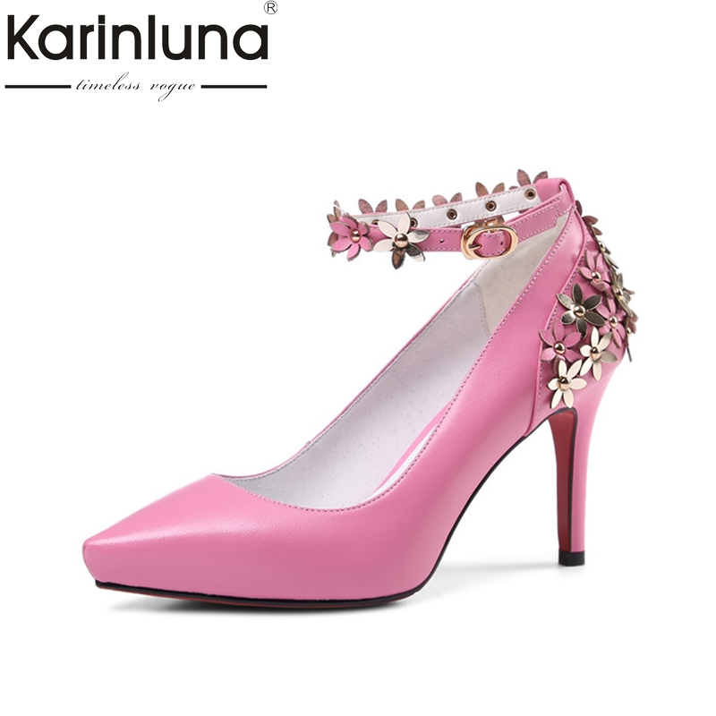 KarinLuna 2018 Spring Autumn Sexy Sweet Genuine Leather Women Pumps Pointed Toe High Heels Party Wedding Flower Shoes Woman siketu 2017 free shipping spring and autumn women shoes fashion sex high heels shoes red wedding shoes pumps g107