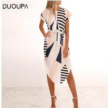 купить DUOUPA 2019 Summer Women Dress Striped Office Pencil Dress Batwing Short Sleeve Tunic Bandage Bodycon Beach Party Dress дешево