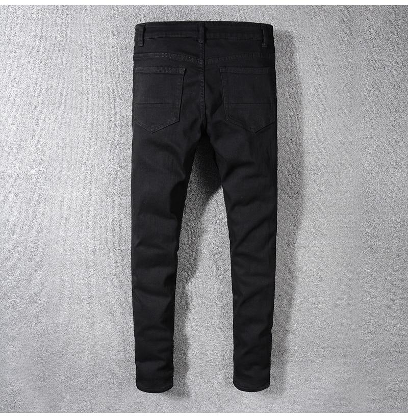 Royles Men's skinny black ripped jeans 2