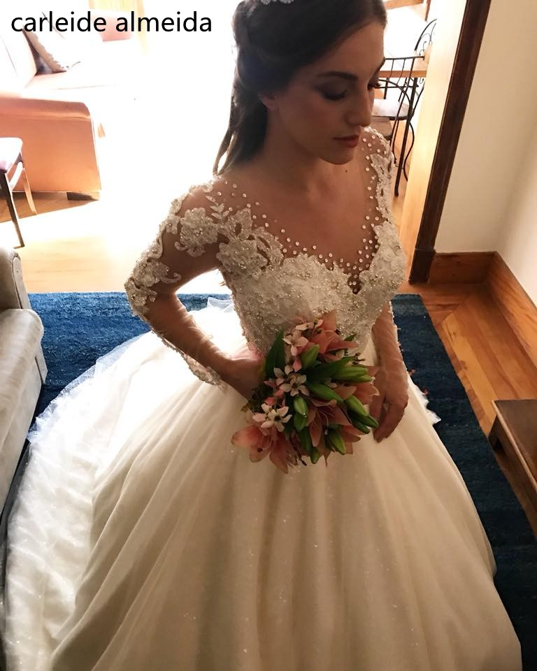 Vestidos de Novia Ball Gown Long Sleeves Wedding Dresses Sequined Tulle & Lace Luxury Wedding Gowns Chapel Train Bride Dress