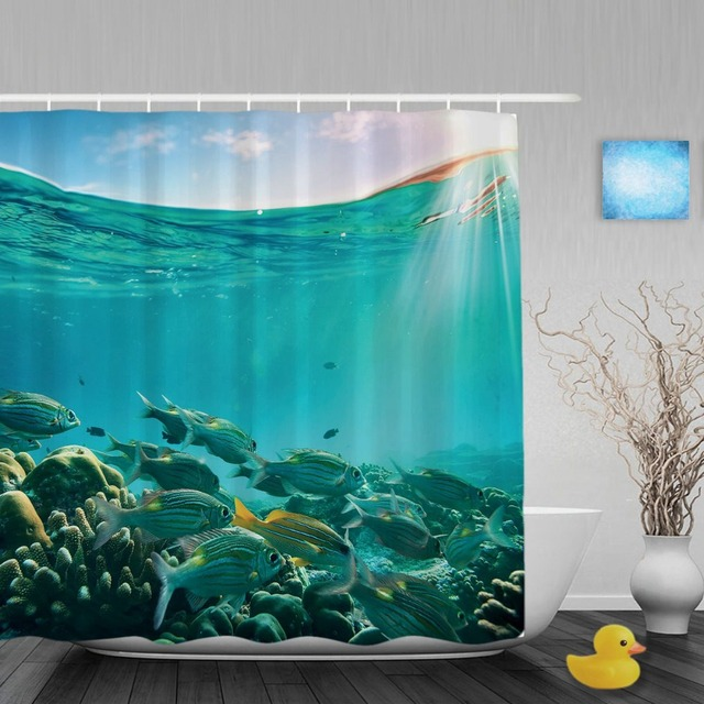 Tropical Sea Creatures Bathroom Shower Curtain Coral Reef Fish Floating Curtains Waterproof Polyester Fabric With Hooks