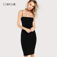 COLROVIE Black Solid Cami Bodycon Dress 2018 New Spaghetti Strap Sleeveless Bodycon Dress Knee Length Woman