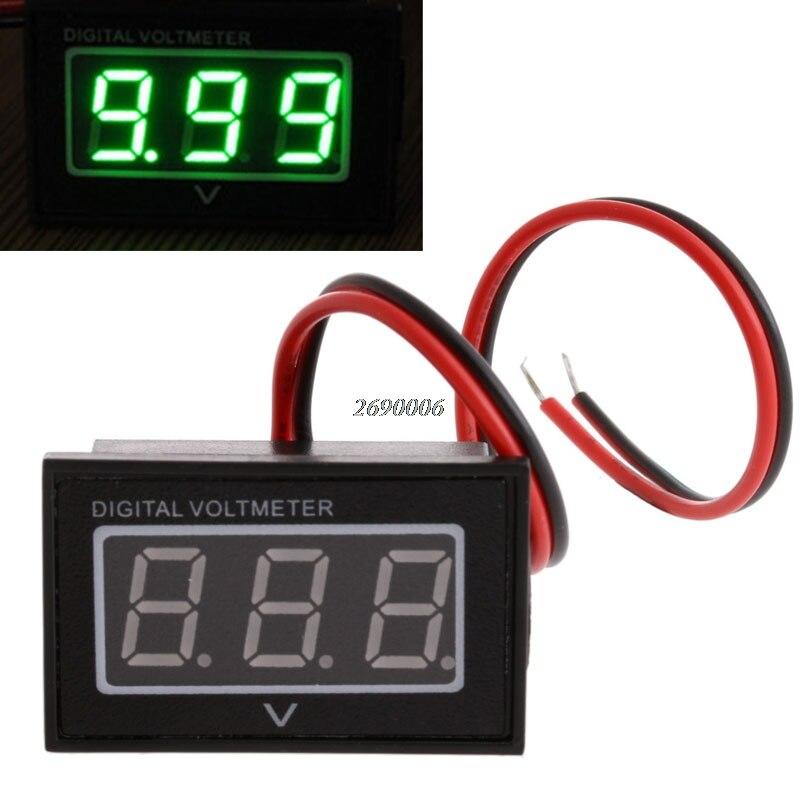 Hot Sell Waterproof Battery Meter DC 2.7-30V Auto Car Gauge Digital Voltmeter LED Green