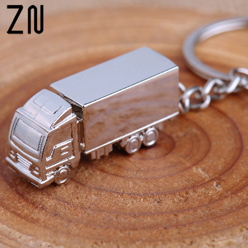 ZN Mini Metal Truck Key Ring Lorry Car Keyfob Keychain Creative Gift Lovely Keyring For Women Men image