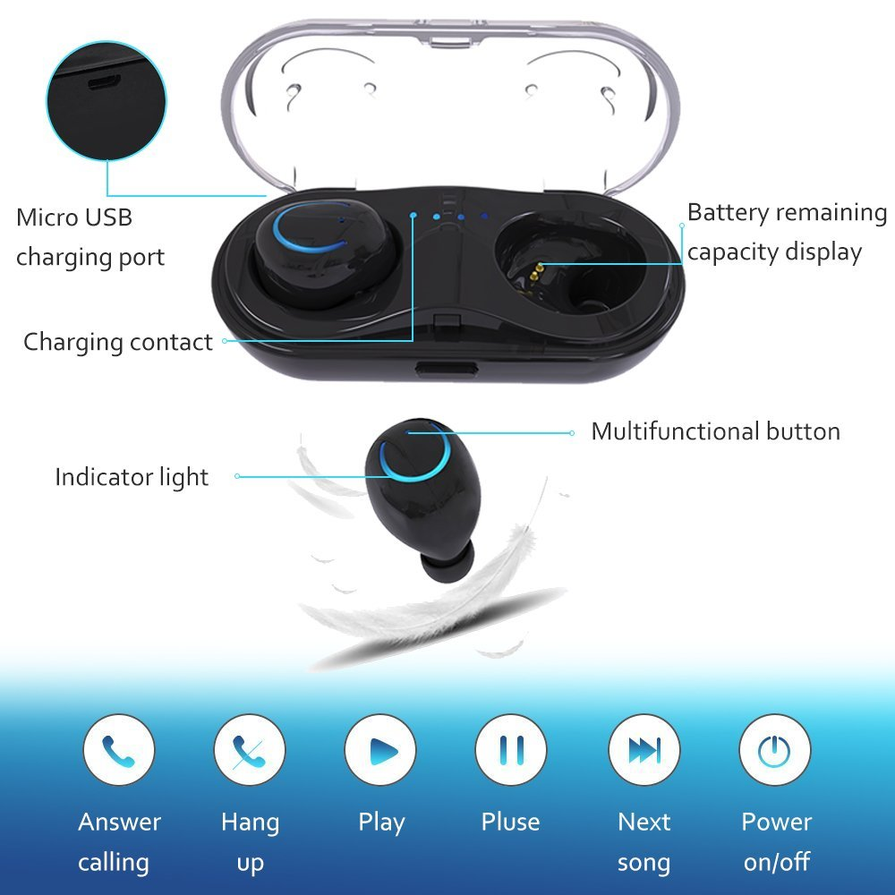 T-Gtexnik TWS Q18 Wireless Bluetooth Headset HiFi Bass Earphone with Charging Box Earphones For iPhone 7/8 Xiaomi Smartphone цена