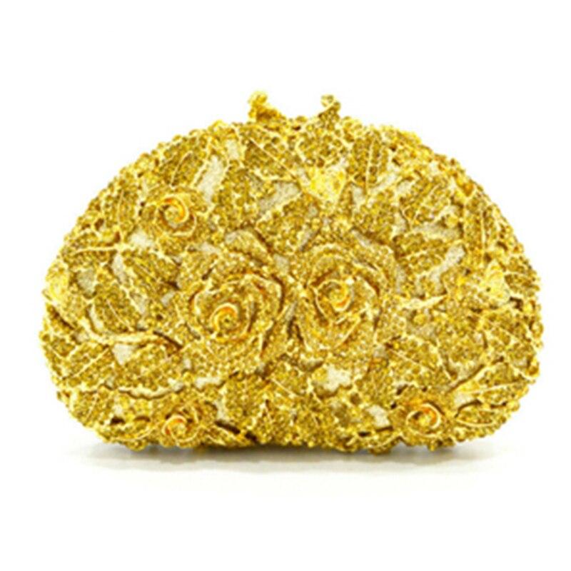 Dîner De Or Picture Show gold Évider Dames Mode Fleur Sac yellow Diamant silver Soirée Ruban Femmes Parti En Sacs As Bourse À Cristal Et jaune Main BxTEAT