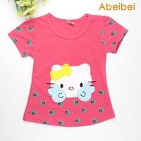 2016 Summer New Baby Girls Hello Kitty Tshirt Children Kt Short Sleeve 100 Cotton T Shirt