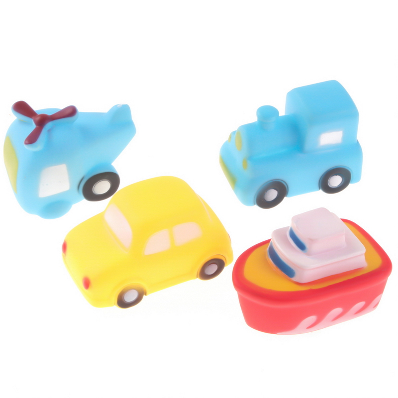 4pcs/set Soft Rubber Bath Toy Set Vehicle Transportation Floating ...