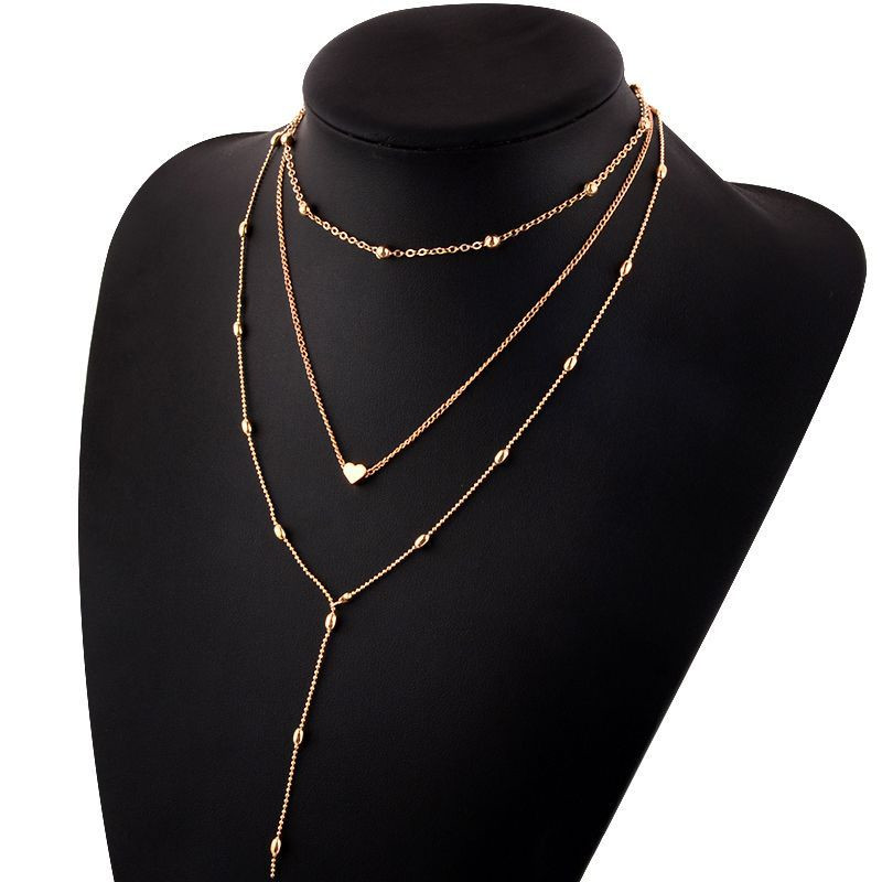 Modyle New Fashion Gold Color Multi-layer Bead Chain Long Heart Pendant Necklace for Woman