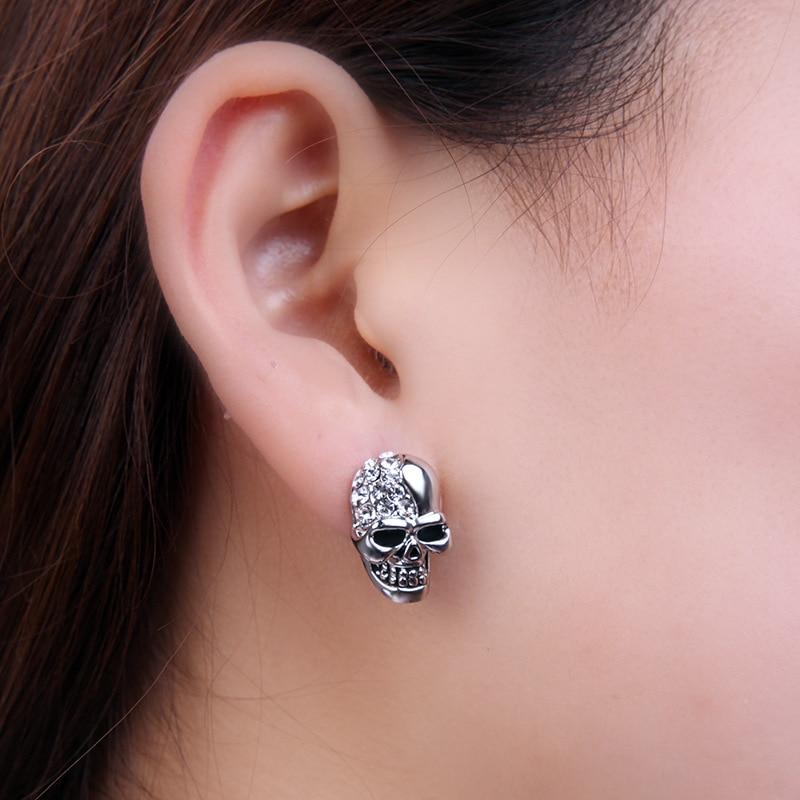 FUNIQUE Rhinestone Rock Punk Skull Crystal Silver Tone Stud Earrings For Women Men Earrings Hiphop Jewelry Brincos two tone crystal stud earrings