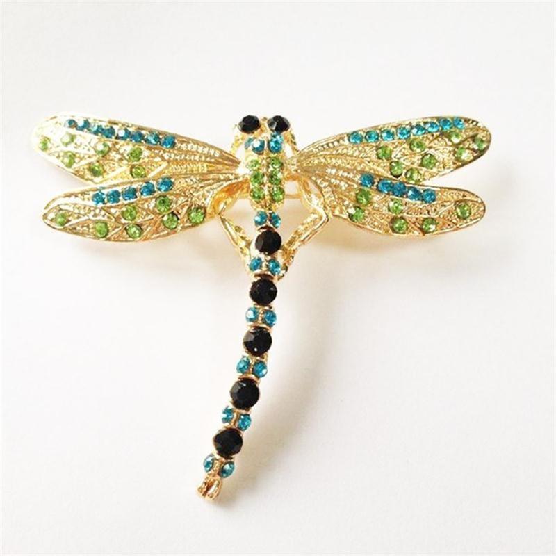 Meajoe Trendy drahokamu Crystal Ročník krásné Dragonfly Brože Cute Purple Metal Animal Brož Šperky pro ženy Friend dárek