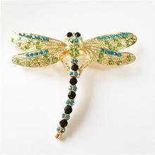 Meajoe Trendy Rhinestone Crystal Vintage Lovely Dragonfly Brooches Cute Purple Metal Animal Brooch Jewelry For Women Friend Gift