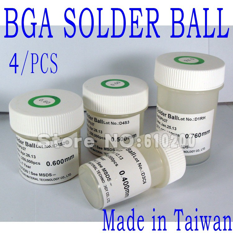 Free Shipping (4 pcs set) High Quality BGA Solder Ball 0.4 0.5 0.6 0.76mm  PMTC Leaded Solder Ball 250K For BGA Rework Reballing dee2c4824a545