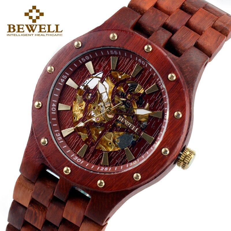 BEWELL männer Uhr Luxus Marke Unabhängige Design Uhr Mode Holz Uhr Armband Bambus Uhr Mann Neuesten uhr 131B-in Mechanische Uhren aus Uhren bei  Gruppe 1