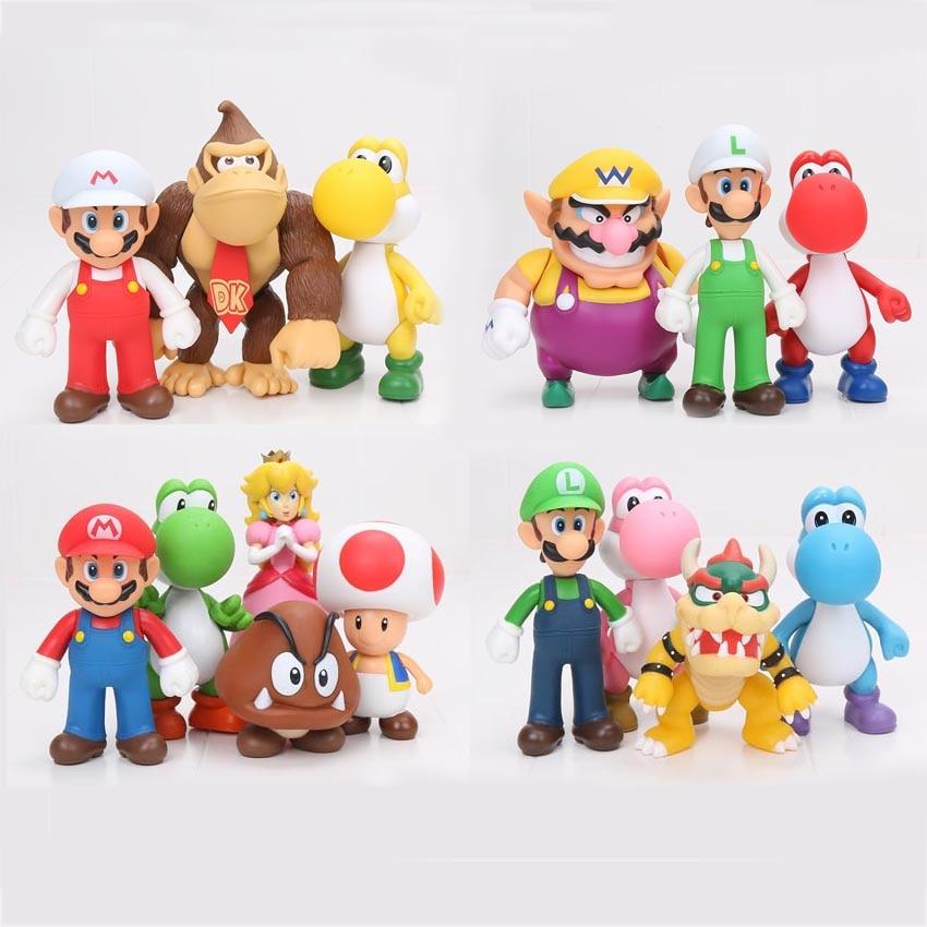 Super Mario 3pcs/set Bros Mario Yoshi Luigi PVC Action Figure ...
