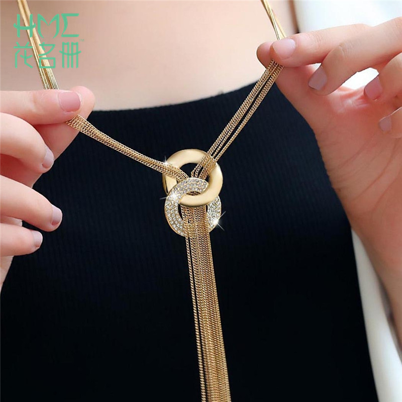Chain Necklaces Sweater-Accessories Circle Tassel Gold Female Silver-Color Hot-Sale Simple-Style