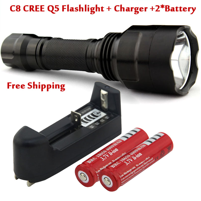 C8 CREE Q5 5 Mode Flashlight Torch Light + 2 x 18650 Rechargeable battery+Charger + power adapter, FREE Shipping! crazyfire led flashlight 3t6 3800lm cree xml t6 hunting torch 5 mode 2 18650 4200mah rechargeable battery dual battery charger