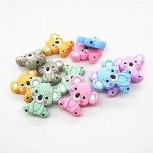 Chenkai 500 pçs bpa livre silicone koala mordedor contas diy animal dos desenhos animados do bebê mascar chupeta manequim sensorial brinquedo acessórios