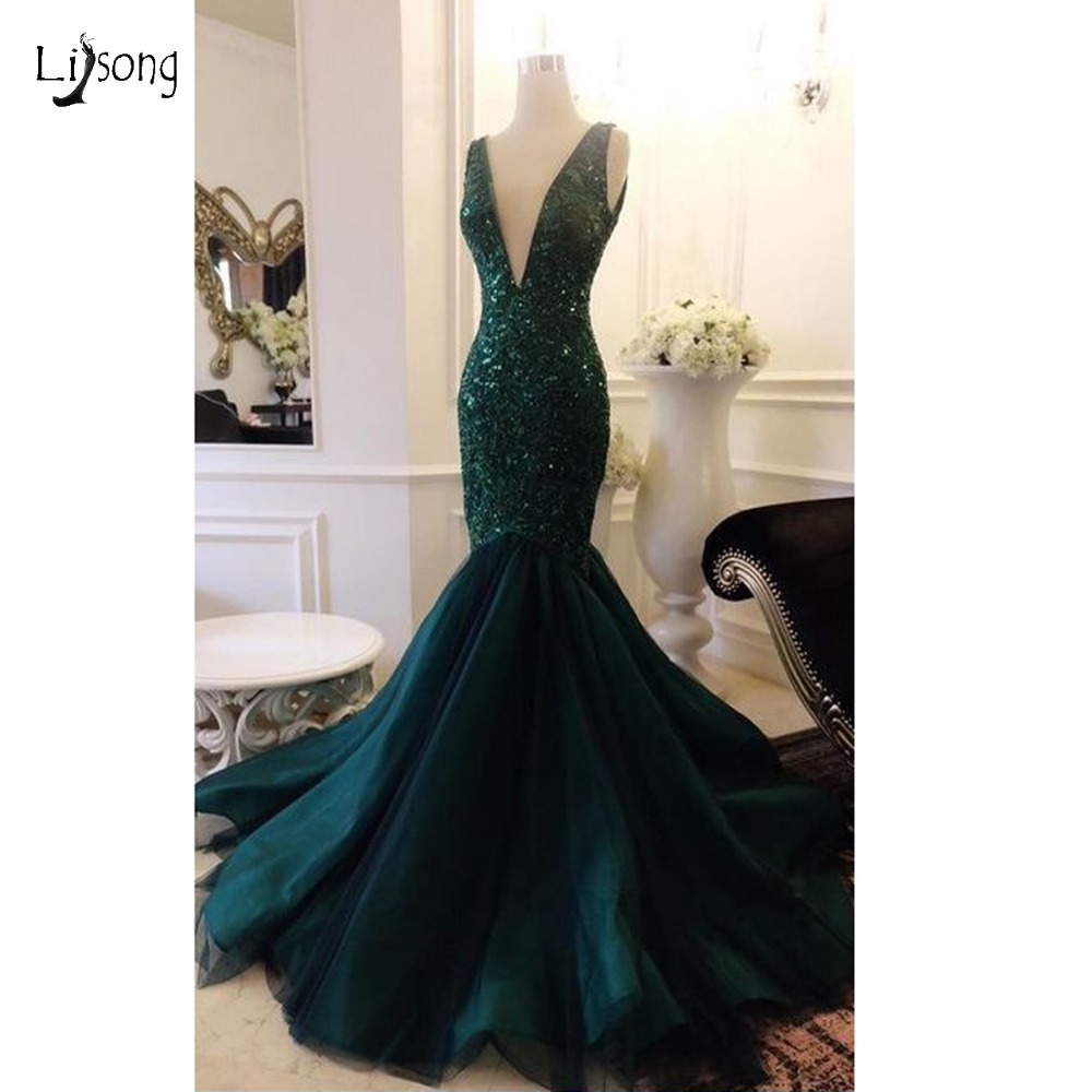 Sparkle Dark Green Sequined Mermaid   Prom     Dresses   2018 Deep V-neck Backless Sexy Long   Prom   Gowns Party   Dress   Robe De Soiree