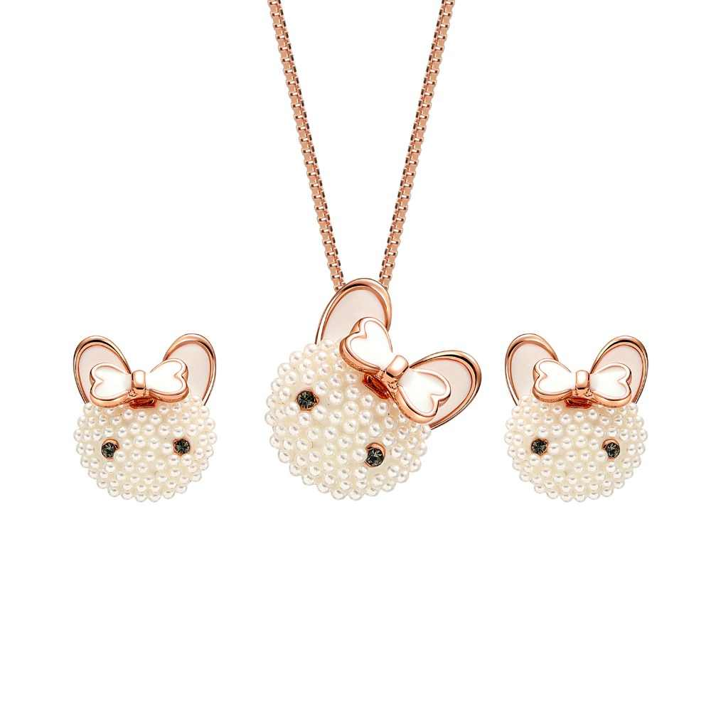 HC Very Cute Cartoon Cat Pendant Necklace Earrings Girl Kids Jewelry Sets Lovely Pearl Bowknot Women Children Jewelry Set Gift F