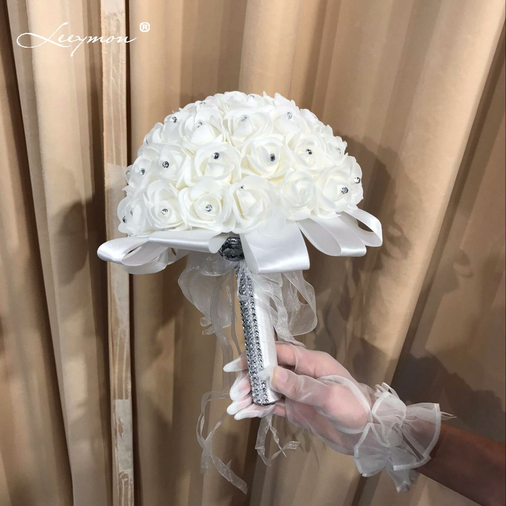 new artificial crystal wedding bridesmaid bouquets 2017 white foamflower satin wedding flowers. Black Bedroom Furniture Sets. Home Design Ideas