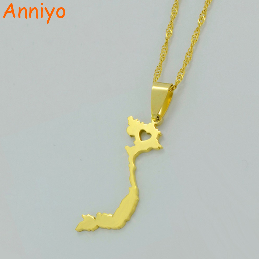 Anniyo Vietnam Pendant Necklace For Women Men Gold Color Jewelry Torch Tunik Navy Misty L Map Of Chain 005221