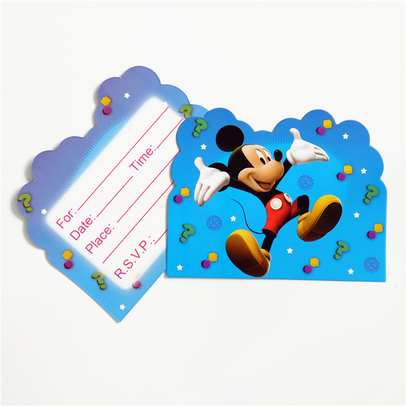 10pcs/lot Cartoon Mickey Theme Party Paper Invitation Card Kids Happy Birthday Party Supplies Decoration Favors