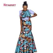 New African Dresses for Women Vestidos Kanga Clothing Dashiki Wax Print Splice Draped Accessory Clothes WY1753