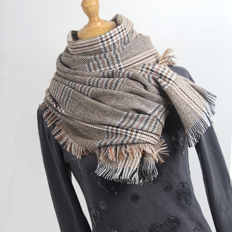 2019 knitted spring winter women   scarf   plaid warm cashmere   scarves   shawls neck bandana pashmina lady   wrap   drop shipping YR007