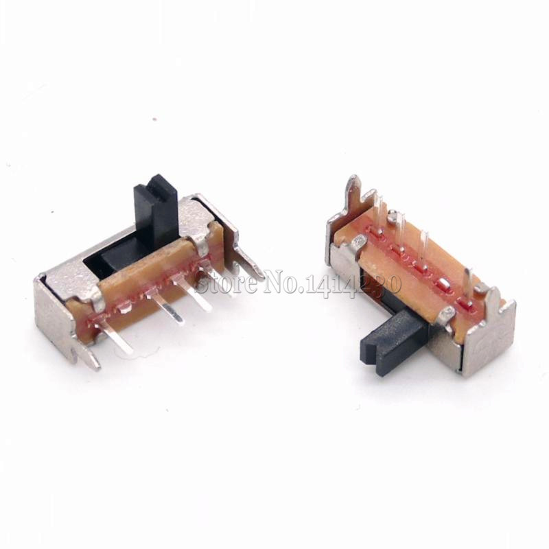 10Pcs SK13D07VG4 DC 50V 0.5A 4 Pin PCB 3 Position SP3T 1P3T Mini Slide Switch Right Angle 4MM Handle High
