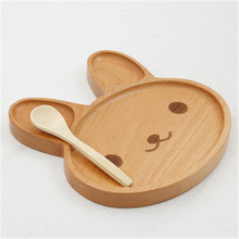 ideacherry 1Pcs Baby Cute Bunny Wood Dinner Plate Kids Cartoon Pattern Face Food Fruit Dish Tray Child Feeding Plates Dinnerware