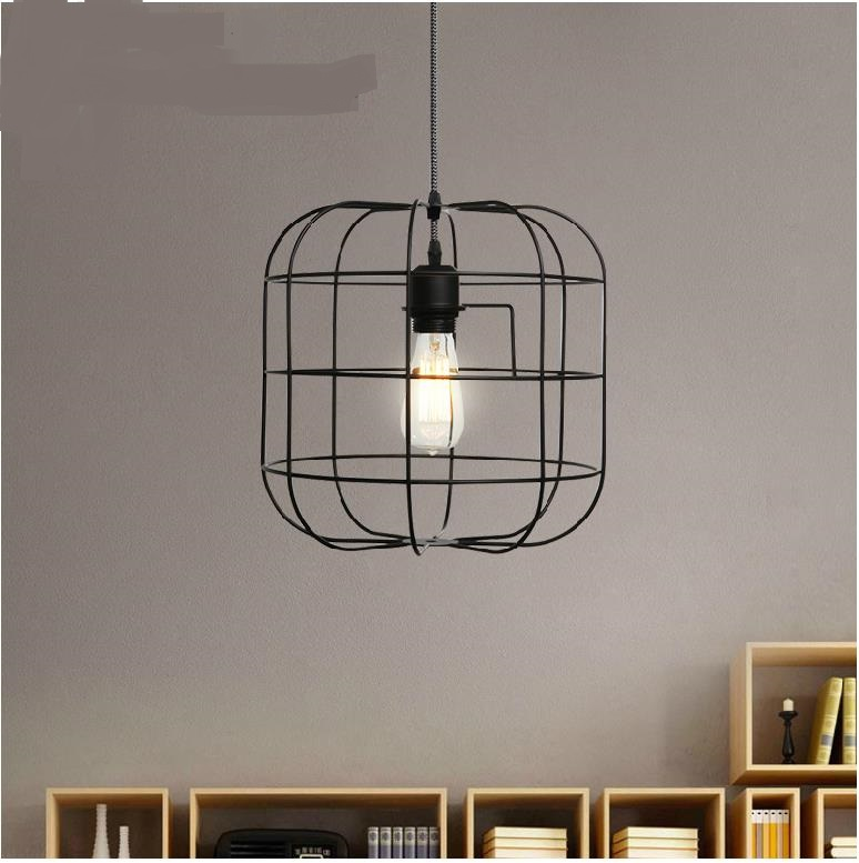 The dining room Pendant Lights American country retro creative personality bedroom lamp lifting iron cage LU727279