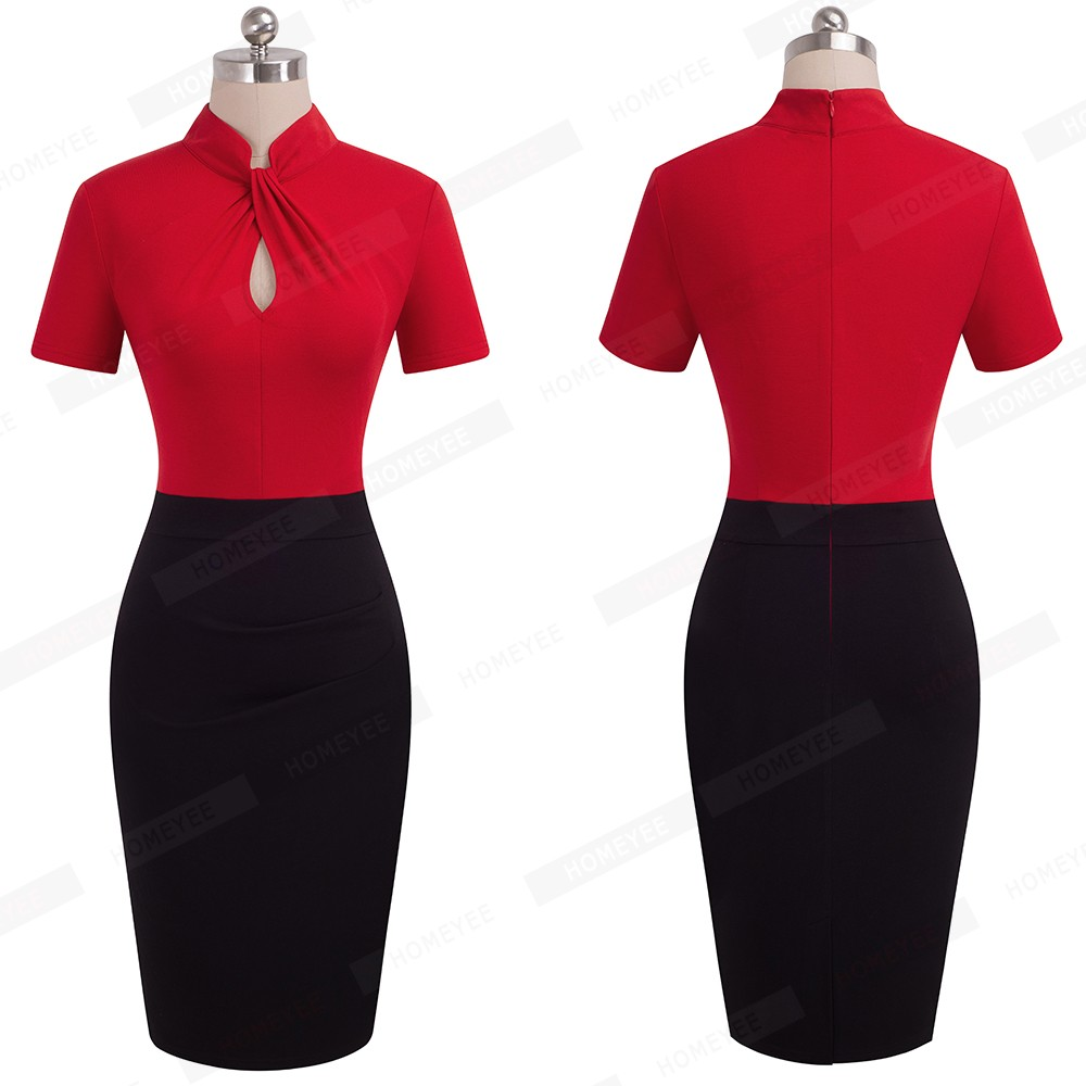 Elegant Work Office Business Drapped Contrasting Bodycon Slim Pencil Lady Dress Women Sexy Front Key Hole Summer Dress EB430 19
