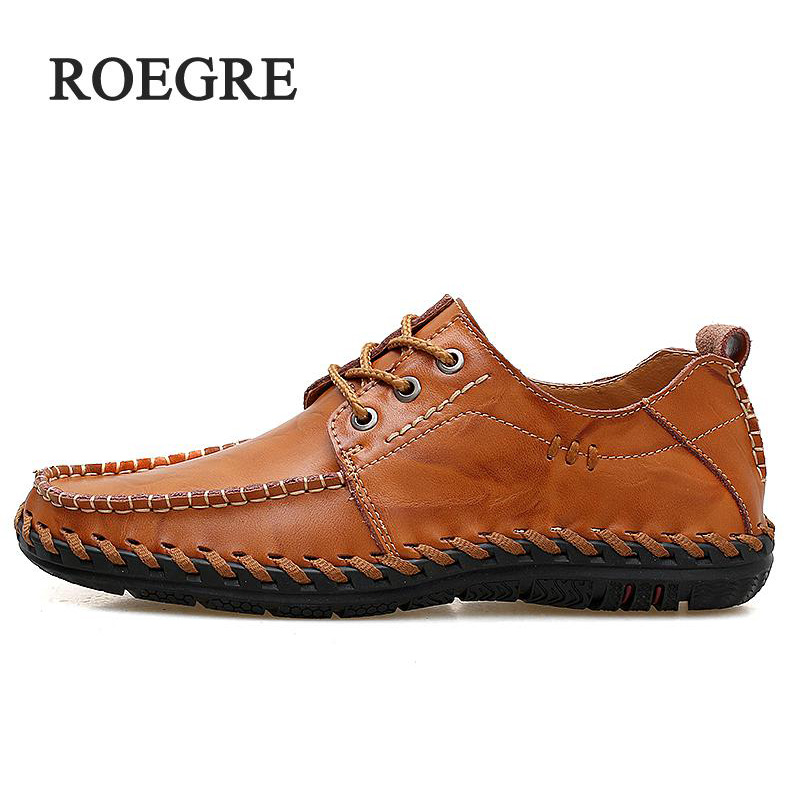 ROEGRE Big Size High Quality Men Leather Shoes Fashion Casual Shoes Mens Luxury Brand Designer Men Leather Shoes Man Flats new 2017 summer brand casual men shoes mens flats luxury genuine leather shoes man breathing holes oxford big size leisure shoes