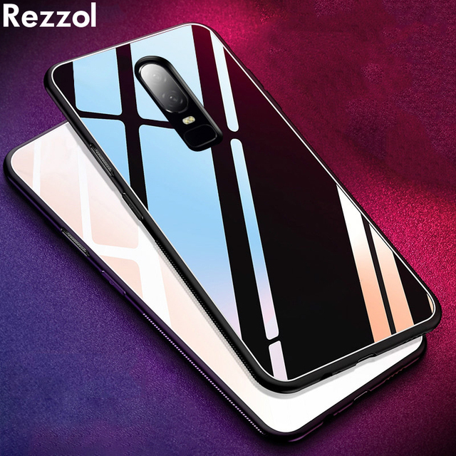 purchase cheap 67b25 ecc13 US $3.7 22% OFF|Rezzol Gloosy Tempered Glass Case For Oneplus 6T Soft TPU  Silicone Frame Hard Back Cover Case For Oneplus 6T 6 T Shockproof-in Fitted  ...