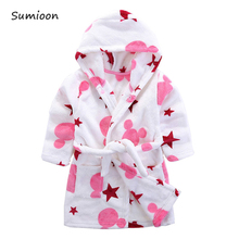 Children's Robes for 2-6 Years Baby Kids Pajamas Boys Girls Cartoon Sleepwear Bathrobes Kids Hooded Baby Robes Flannel Sleepwear