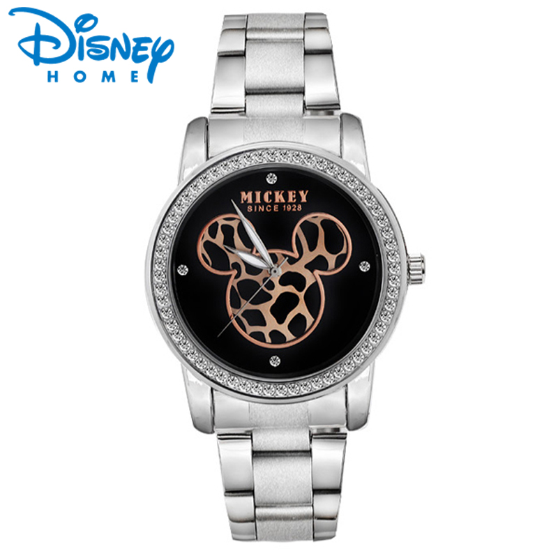Disney Mickey Mouse Women Watches Gold Silver Leopard Mickey Mouse Fashion Stainless Steel Quartz Watch Ladies Watch mickey mouse body parts