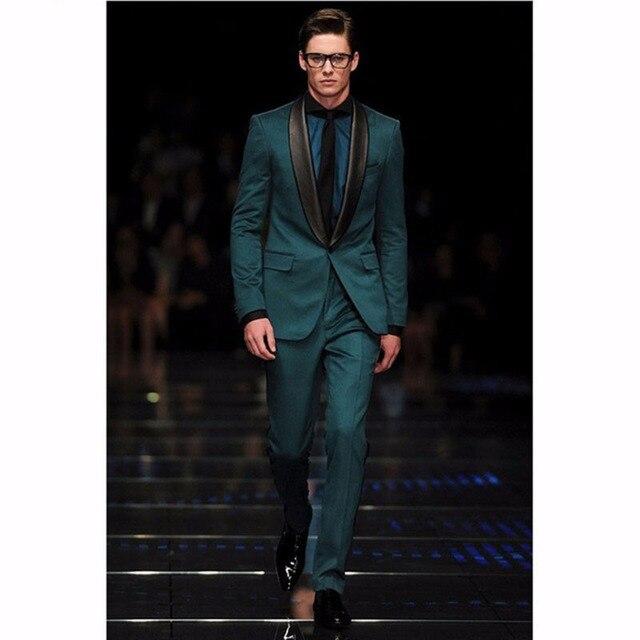 Populaire préféré Populaire Vert Foncé Mens Costumes Avec Noir Col Châle Élégant &FB_39