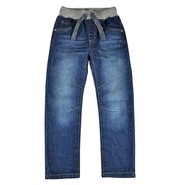 Детские джинсы штаны для мальчиков джинсы для подростков, брюки теплая осенне зимняя однотонная одежда с заклепками и эластичной резинкой на талии для маленьких мальчиков