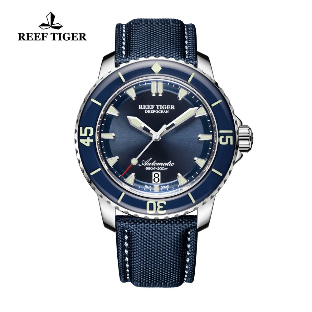 Reef Tiger/RT Super Luminous Dive Watches Mens Analog Automatic Blue Dial Watches with Date RGA3035