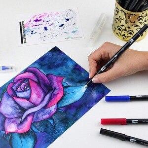 Image 5 - Tombow abt escova dupla caneta arte marcadores caligrafia desenho caneta conjunto brilhante 10 pacote blendable escova ponta fina aguarela rotulação