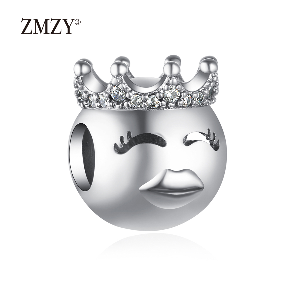 ZMZY Authentic 925 Sterling Silver Charms Princess Emoticon Beads Fits Pandora Charm Bracelet Making
