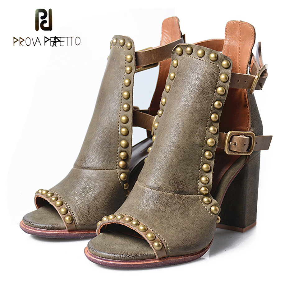 Prova Perfetto sexy peep toe chunky heel gladiator sandals women rivets genuine leather buckle strap high heels women sandals цена
