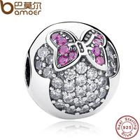 Sterling Silver 925 Sweet Cute Lovely Mickey Minnie Pave Clip Charm Fit Pandora Bracelet Necklace Jewelry