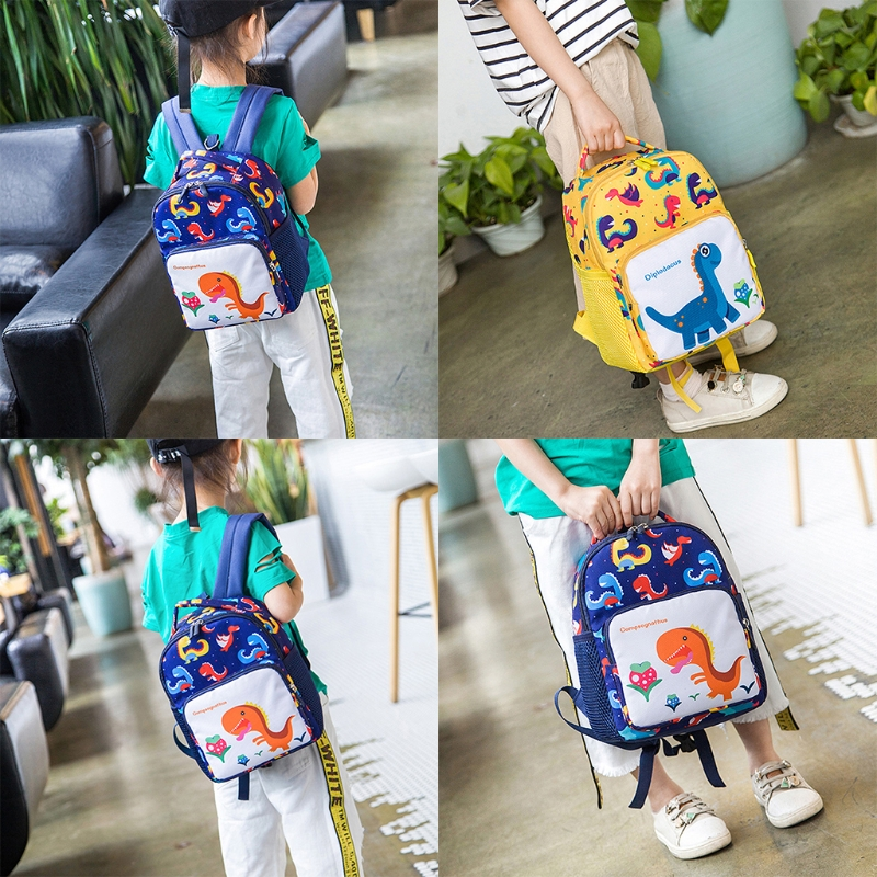 Toddler Backpack Anti-lost Band Kids 1030C Children Cartoon Dinosaur Print School Bag dinosaur print makeup bag