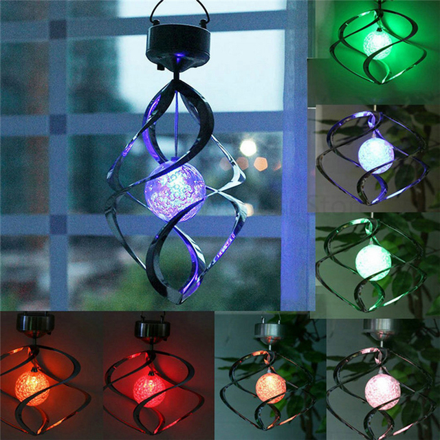 Color Changing Solar Powered Garden Light Outdoor Courtyard Hanging Spiral  Lamp LED Wind Spinner Garden Tree
